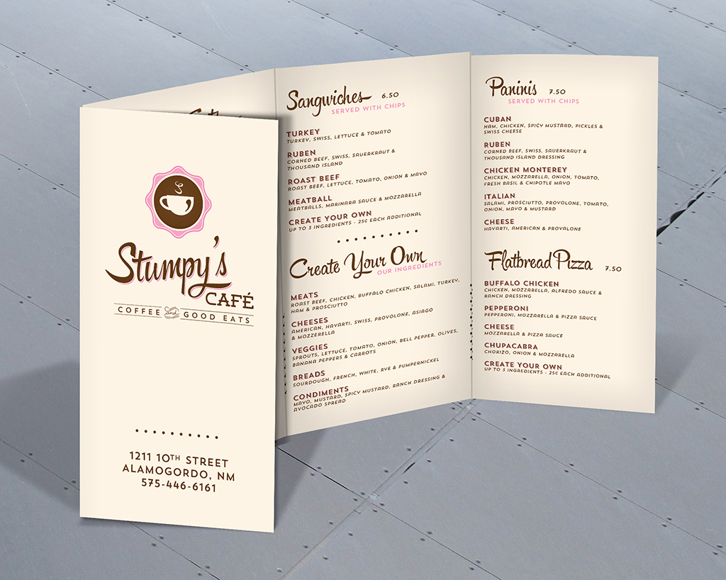 Menu Design – Stumpy's Café